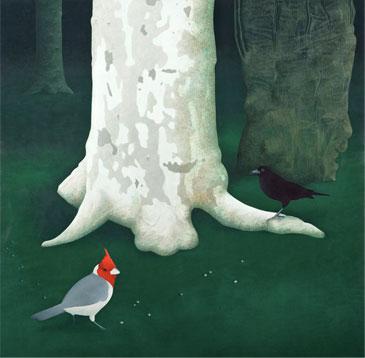 Los pájaros (Temple de huevo sobre tablex. 60 x 61 cms. 2009)