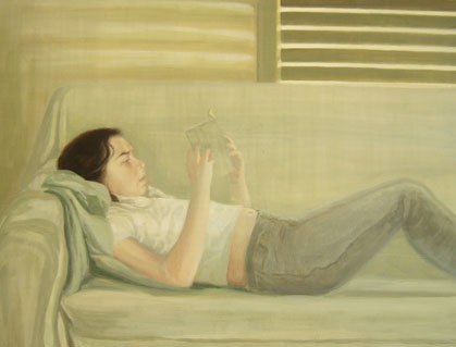 BLANQUITA LEYENDO, 2005 Óleo sobre tabla, 75 x 100 cm.