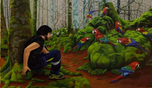 Iker Serrrano Encuentro guacamayesco, 2013, óleo sobre lino, 54 x 92 cm