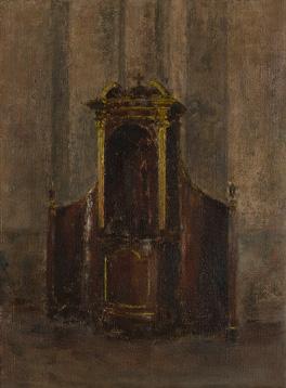 Confesonario en la Iglesia de San Bernardino de Siena. Óleo/lienzo 32x24