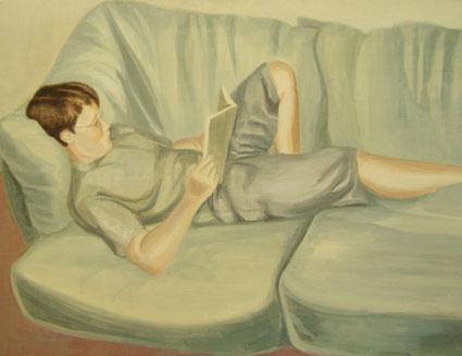 JAVIERETE LEYENDO, 2006 Óleo sobre tabla, 75 x 100 cm.