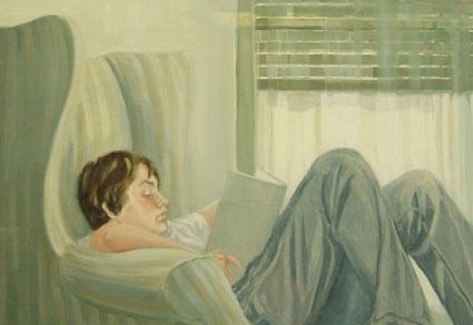 JOSETE LEYENDO, 2007 Óleo sobre tabla, 68 x 100 cm.