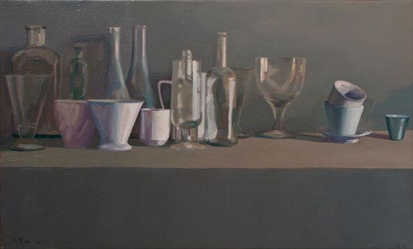 Alberto Pina Botellas óleo sobre lienzo, 63x40 cm.