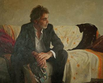 Carlos García Alix Autorretrato, 2010. Óleo sobre lienzo. 100 x 100 cm.
