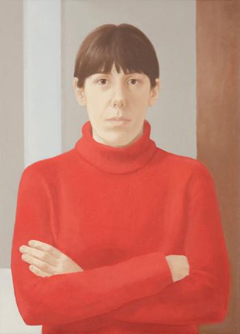 Elena Goñi Autorretrato Rojo, 2010. Óleo sobre lienzo. 100 x 100 cm.
