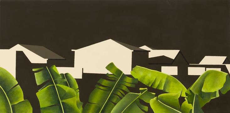 Plataneras en Haría, 2011 Acrílico sobre lienzo, 140X70 cm.