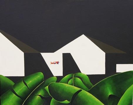 Mirando hacia el patio de mi casa, 2011 Acrílico sobre lienzo, 95X65 cm.