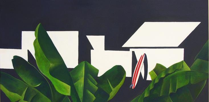 Casa con tabla, 2011 Acrílico sobre lienzo, 80X40 cm.