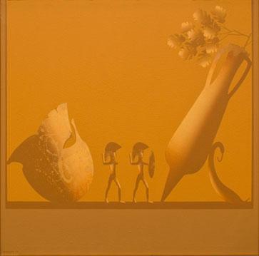 Chema Peralta Hoplitas, 2002. Acrílico sobre tela, 65 x 65 cm.