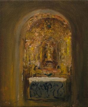 Miguel Galano Altar portugués, 1998, óleo sobre lienzo, 27x22 cm.