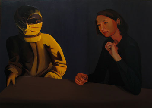 Sara Quintero Hablando con un hombre de ciencia, 2002. Óleo sobre tabla, 116 x 88,5 cm.