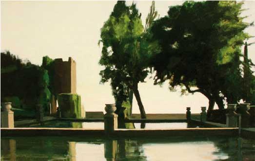 Alberto Pina Villa d'Este (2003). Óleo sobre lienzo, 38 x 60 cm.