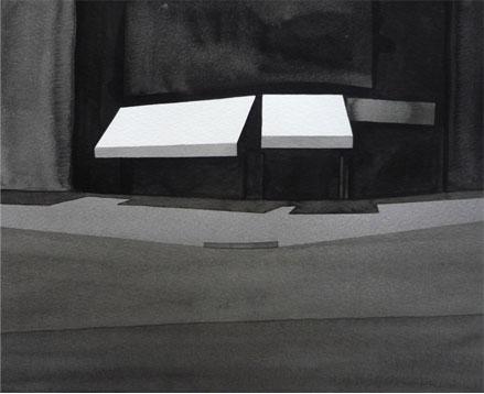 Barcelone, 2010, tinta china sobre papel Montval, 28,5 x 33,5 cm.