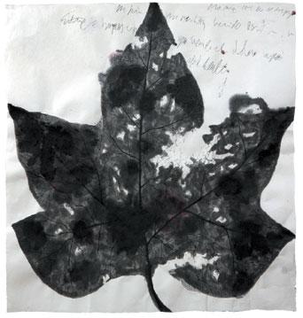 BotanicalPoems 46. Así me vi en este espejo, el dolor dentro. 2008 Técnica Mixta sobre papel hecho a mano en China. 96 x 118 cm.