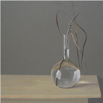 Botella con agua y planta - óleo/lienzo 65 x 65 cm.