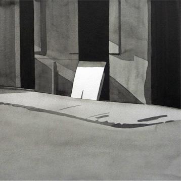 Cartón, 2010, tinta china sobre papel Montval, 29 x 29 cm.