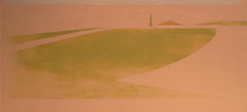 Chema Peralta Casa con Jardín (2006). Acrílico sobre tela, 19 x 41 cm.