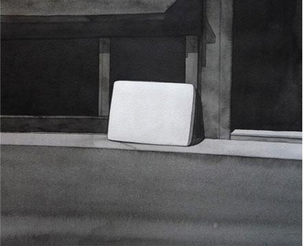 Colchón, 2010, tinta china sobre papel Montval, 28 x 34 cm.