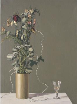 Flores muertas con copa - óleo/lienzo 81 x 60  cm.