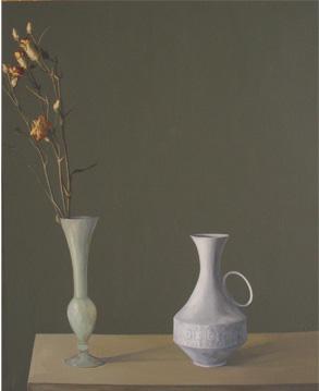 Flores con botella blanca - óleo/lienzo 81 x 65  cm