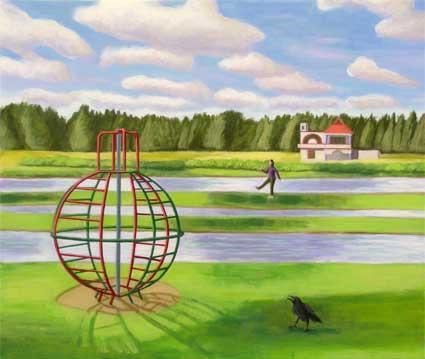 La casa y el cuervo, 2005 Temple al huevo sobre tabla 47,6X39,6 cm.
