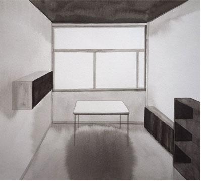 La chambre de l'architecte, 2010, tinta china sobre papel Montval, 24,5 x 27 cm.