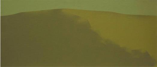 Ladera ocre, 2006. Acrílico sobre tela, 27 x 61 cm.