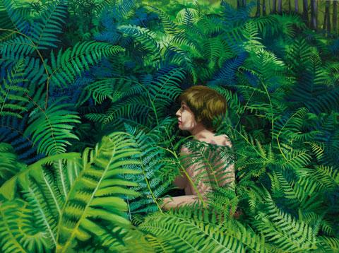 Leona entre Helechos, 2014 Óleo sobre lienzo  55 x 73 cm
