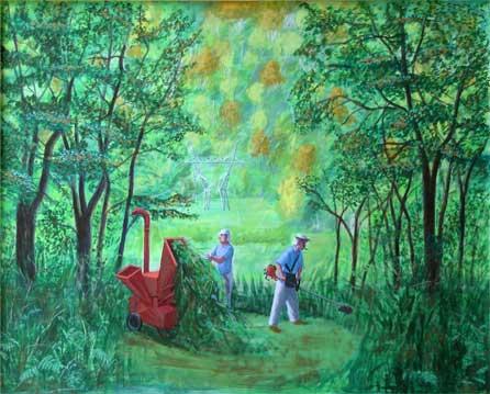 Los desbrozadores, 2005 Temple al huevo sobre tabla 63X78 cm.