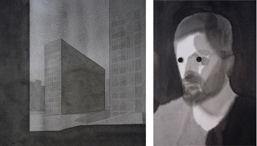 Nocturno urbano (tormenta magnética), 2010, tinta china sobre papel Montval, 30 x 30 cm.