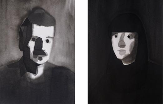 Ritratto d'ingegnere costruttivista, 2010, tinta china sobre papel Montval, 35 x 26 cm. Barbara de Messina, 2010, tinta china sobre papel Montval, 38 x 28 cm.