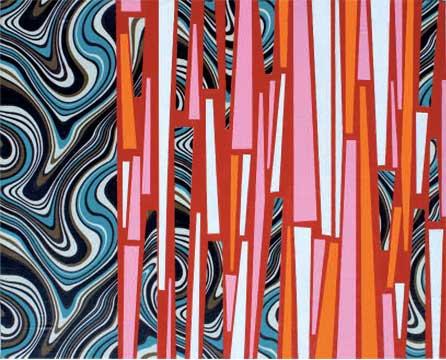 Manuel Losada Swirf & Scaffolding, 2009 Acrílico sobre tela estampada 23X41 cm.