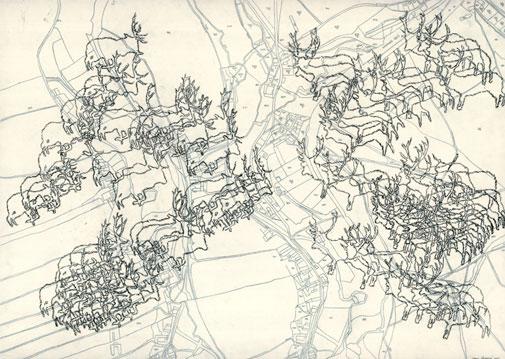 Tabulae Terrae 7 (2002), dibujo a lápiz en dos caras sobre papel vegetal, 50 x 70 cm.