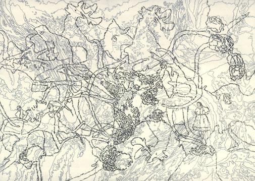 Tabulae Terrae 18 (2003), dibujo a lápiz en dos caras sobre papel vegetal, 50 x 70 cm.