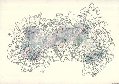 Tabulae Terrae 22 (2004), dibujo a lápiz y técnica mixta en dos caras sobre papel vegetal, 50 x 70 cm.