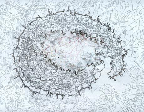 Tabulae Terrae 23 (2004), dibujo a lápiz y técnica mixta en dos caras sobre papel vegetal, 51 x 66 cm.