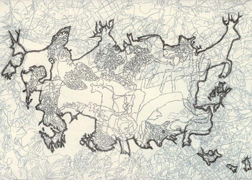Tabulae Terrae 29 (2003), dibujo a lápiz en dos caras sobre papel vegetal, 50 x 70 cm.