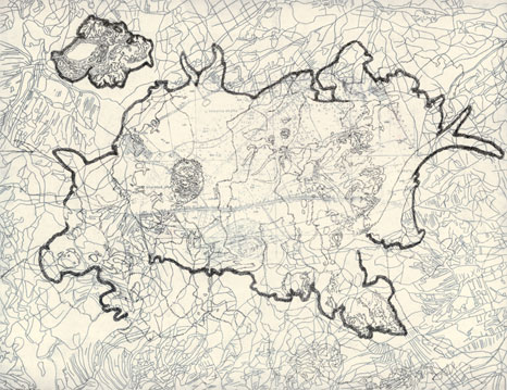 Tabulae Terrae 30 (2003), dibujo a lápiz y técnica mixta en dos caras sobre papel vegetal, 50 x 70 cm.