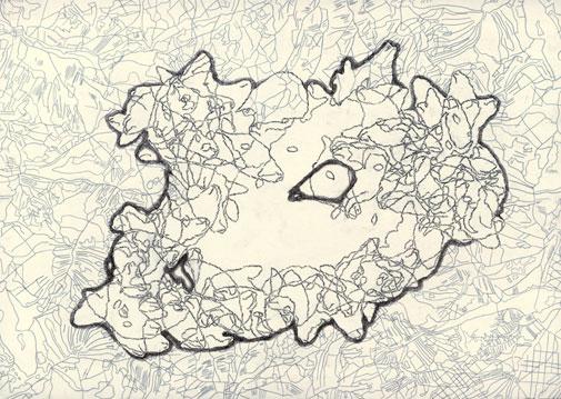 Tabulae Terrae 41 (2004), dibujo a lápiz y técnica mixta en dos caras sobre papel vegetal, 50 x 70 cm.