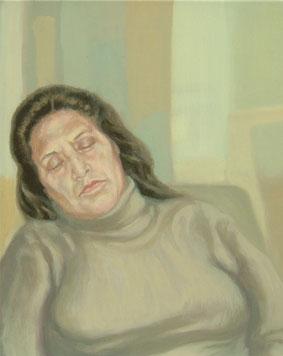 Viajera dormida II  – 40 x 30 – Óleo sobre lienzo – 2009