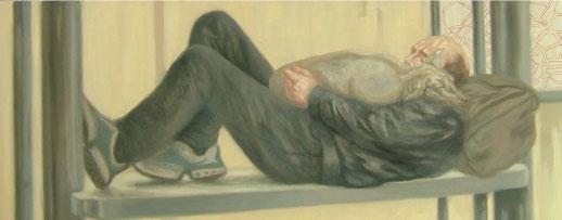 Viajero dormido con perro – 40 x 100 – Óleo sobre lienzo – 2009