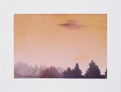 Agosto,  2014.  Flashe y gouache sobre papel Arches  Papel 61 x 46 cm / Imagen 47 x 12 cm