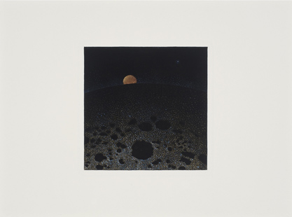 Amanecer,  2014.  Flashe y gouache sobre papel Arches  Papel 31 x 23 cm / Imagen 13 x 13 cm