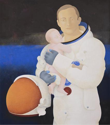 Astronauta y niño, 2012.  Flashe y temple de huevo sobre tablex  67 x 76 cm