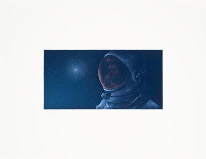 Astronauta,  2014.  Flashe y gouache sobre papel Arches  Papel 61 x 46 cm / Imagen 35 x 17 cm