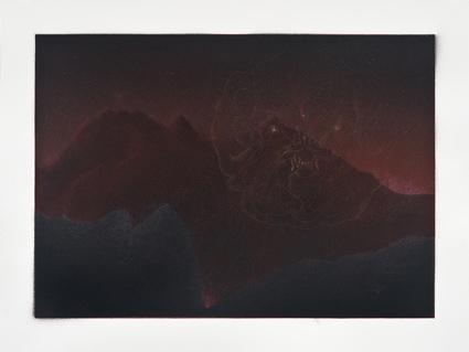 Como la sombra de una montaña al atardecer,  2013.  Flashe y gouache sobre papel Arches  Papel 61 x 46 cm / Imagen 52 x 37 cm