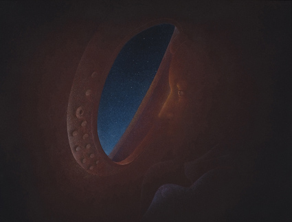 El viaje,  2014.  Flashe y gouache sobre papel Arches  61 x 46 cm