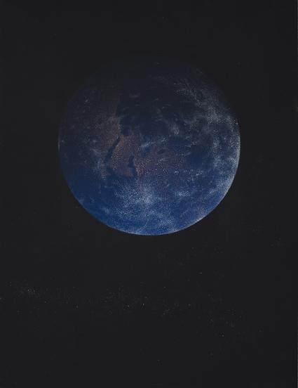 Tierra,  2014. Flashe y gouache sobre papel Arches  46 x 61 cm