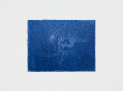 La noche,  2014.  Flashe y gouache sobre papel Arches  Papel 31 x 23 cm / Imagen 17 x 13 cm