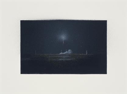 La tercera expedición,  2014.  Flashe y gouache sobre papel Arches  Papel 31 x 23 cm / Imagen 21 x 13 cm